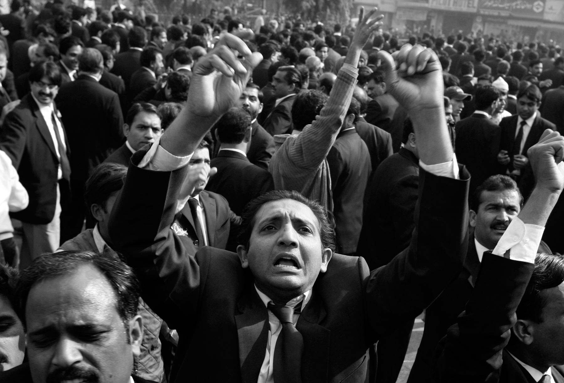 Pakistan Lawyer shouts during an anti-government protest. Lahore, Pakistan